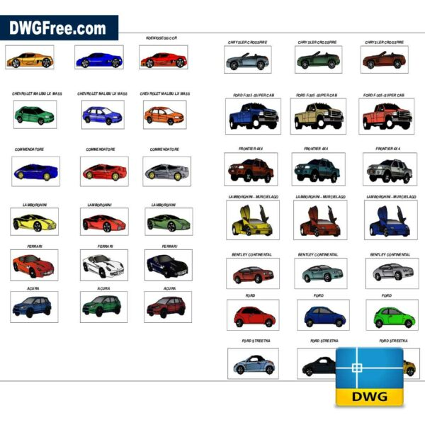 Luxury cars dwg drawing 2D