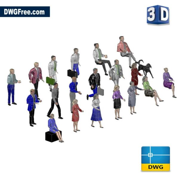 Men and Women 3D DWG in AutoCAD