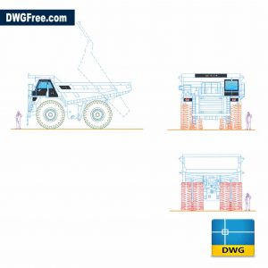Mining Truck Caterpillar 785C DWG in Autocad 2D CAD