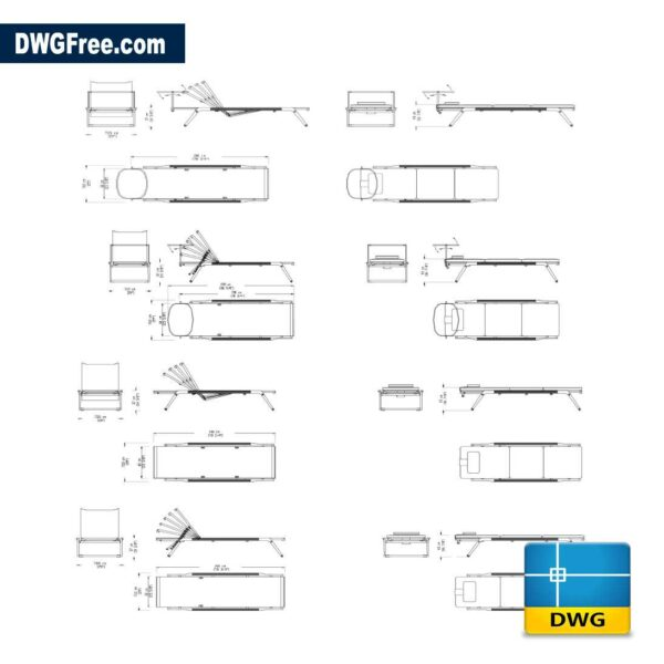 Mirto Outdoor deck chairs dwg in Autocad 2D