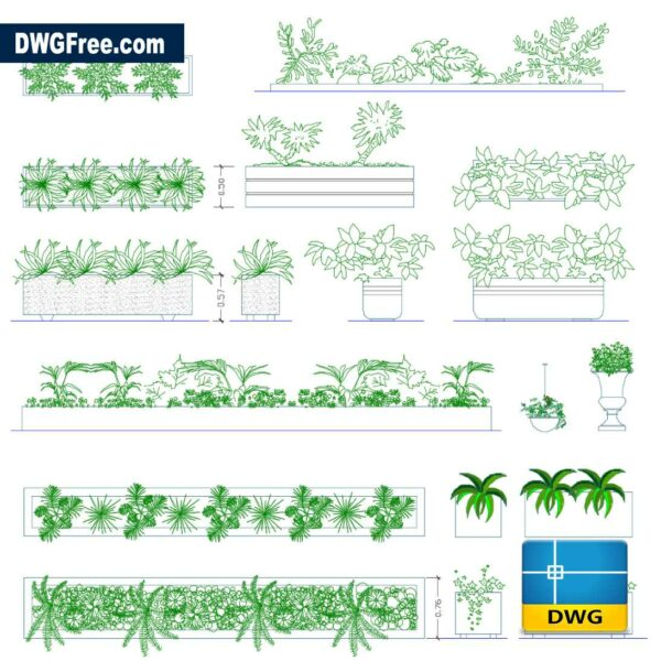 Modern vases in pots dwg drawing