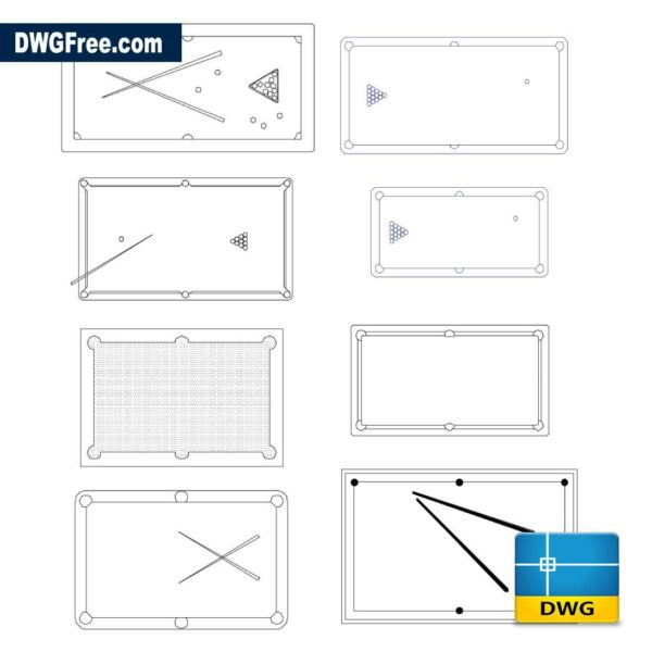 Pool Table DWG in AutoCad drawing