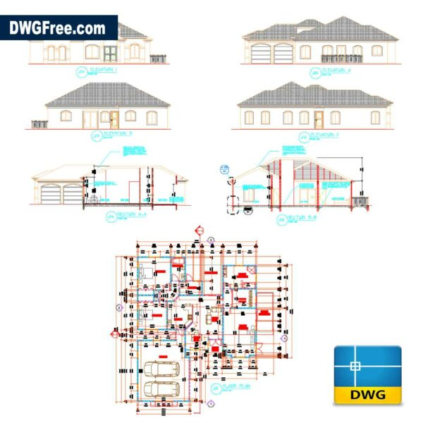 Residential Dwelling 3 Bedroom DWG in AutoCAD