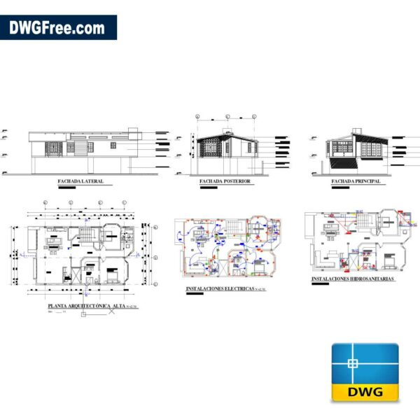 Second floor extension house 150m2 dwg drawing