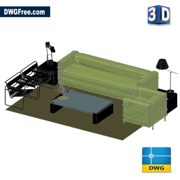 Set of Living in 3D DWG in AutoCAD