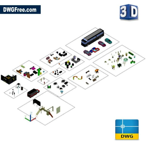 Several 3d cad templates dwg drawing