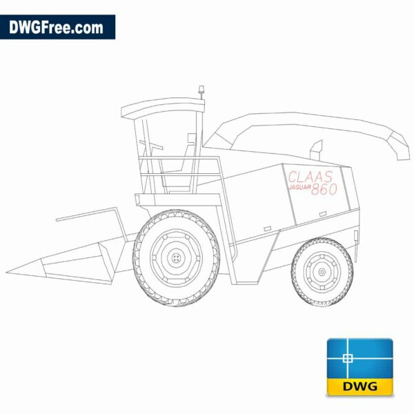 Silage harvester Claas 860 Dwg drawing CAD