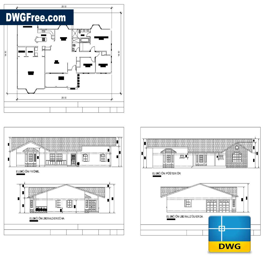 Simple House With 3 Bedrooms DWG 2D [Drawing 2020 ] DwgFree