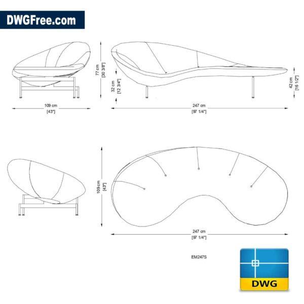 Sofa Eda-Mame DWG in AutoCAD 2D