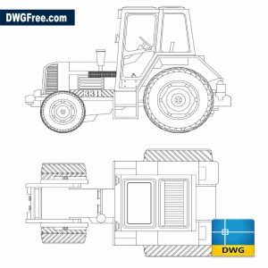 Tractor 2D DWG in Autocad Drawing