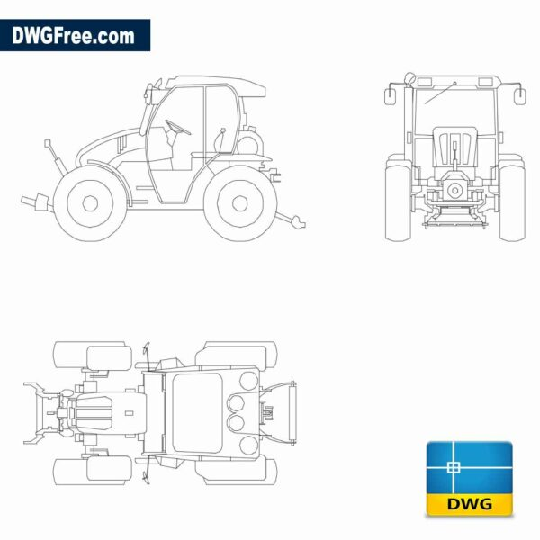 Drawing Tractor Mounty DWG In Autocad 2D