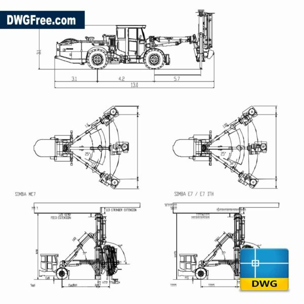 Underground mining equipment DWG CAD Drawing