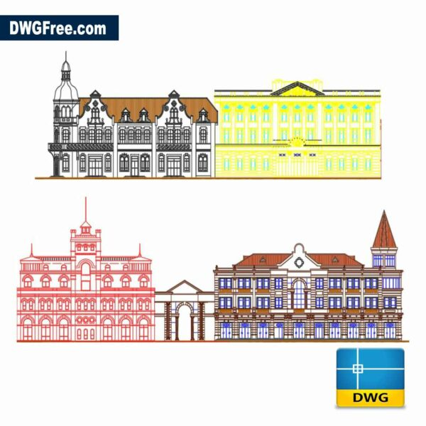 architectural building elevation dwg drawing CAD