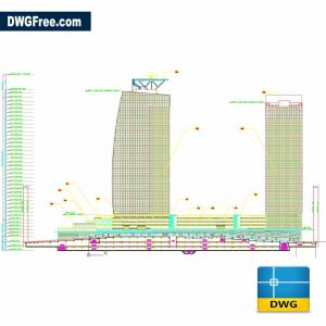 High-rise building with terrace dwg in Autocad 2D