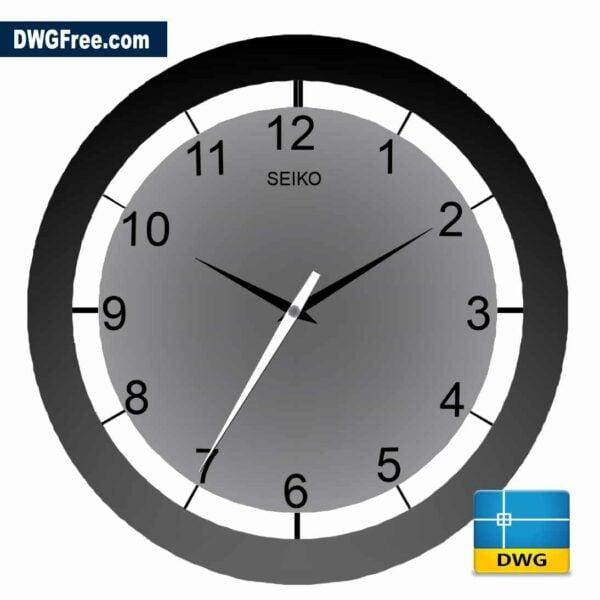 classic wall clock dwg in Autocad cad block