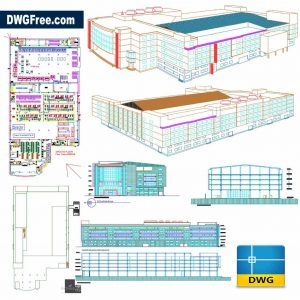 Factory Building with Elevation Details dwg in Autocad