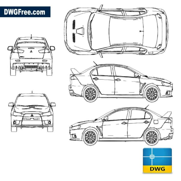 Lancer Evo X 2014 DWG in AutoCad