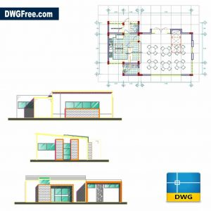 Plan of Restaurant Building Dwg in Autocad