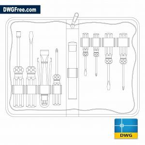 Drawing Screwdrivers with suitcase DWG