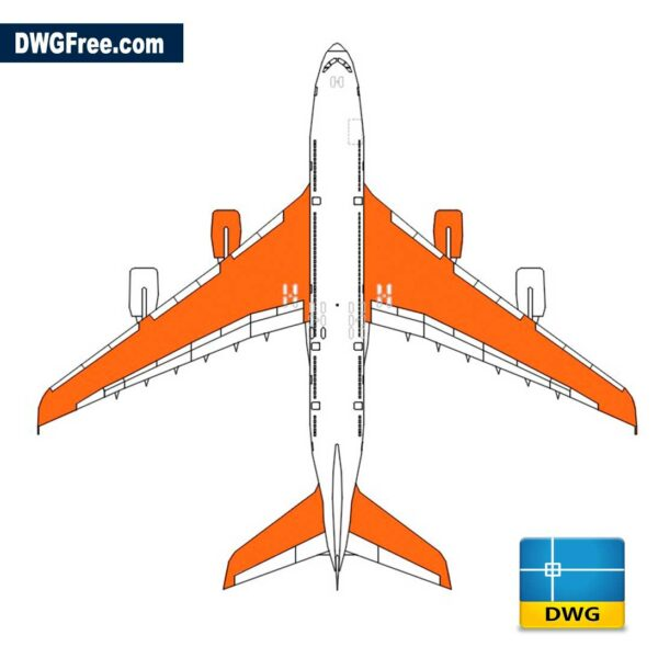 Airbus 380 DWG Drawing in CAD 2D