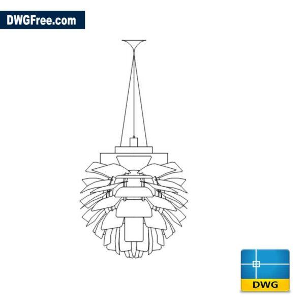 Artichoke light fitting DWG drawing in CAD