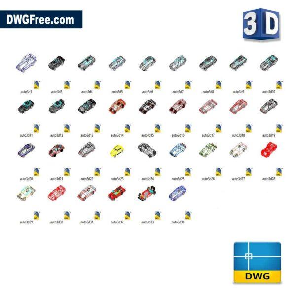 Cars 3D cad blocks free dwg