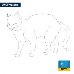 Cat in 2D DWG in AutoCAD