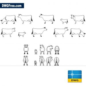 Cows Cads Blocks DWG Drawing in CAD