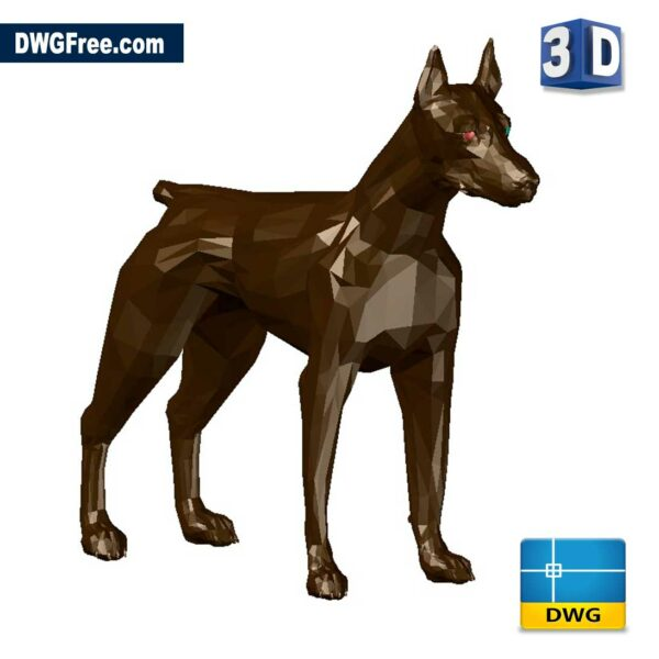 Doberman Dog 3D DWG drawing in CAD