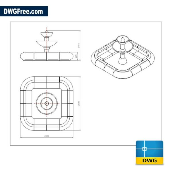 Fountain dwg drawing in CAD