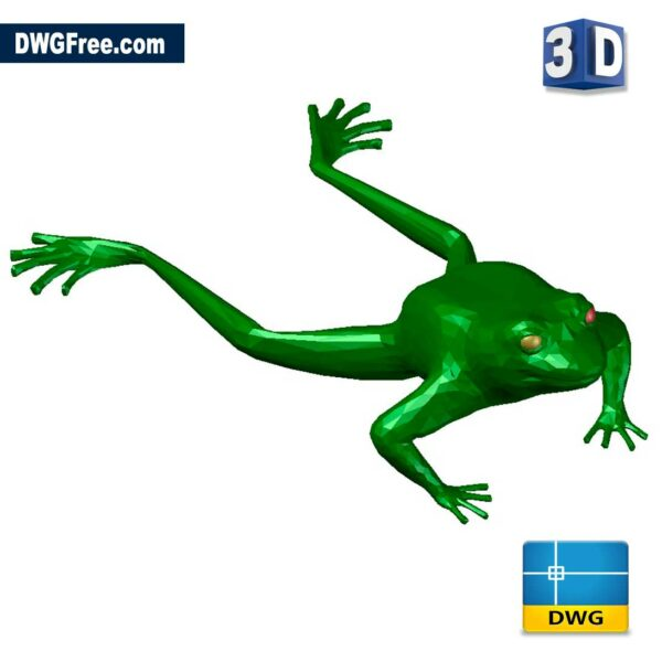Frog 3D DWG drawing in AutoCAD