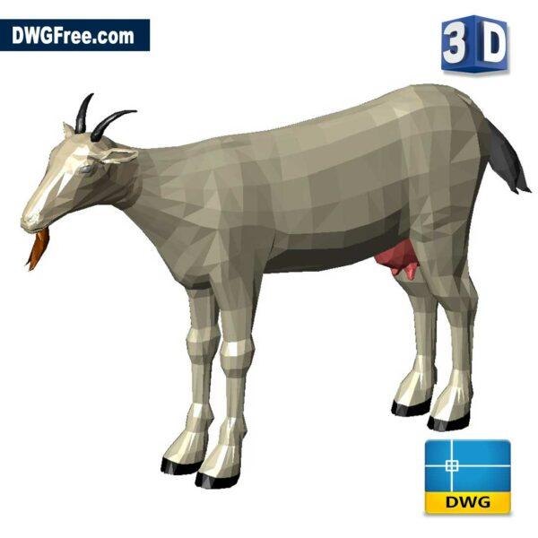 Goat-Autocad-3D-dwg-drawing-CAD