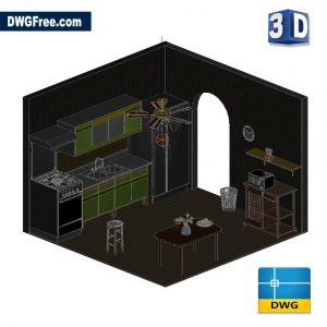 Kitchen 3D DWG Drawing in AutoCAD