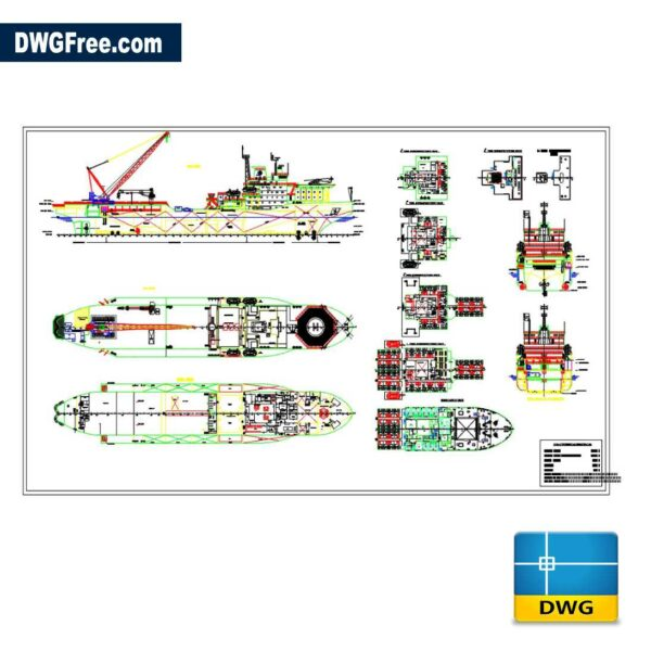 Rescue Boat AutoCAD DWG drawing 2D