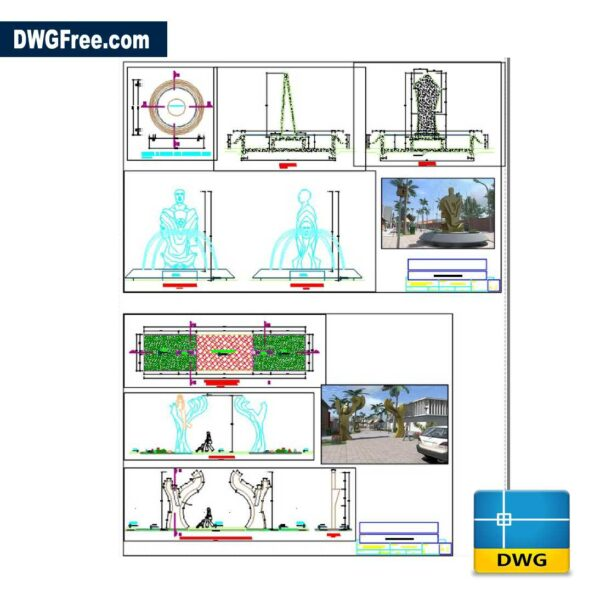 Sculpture Fountain DWG in AutoCAD