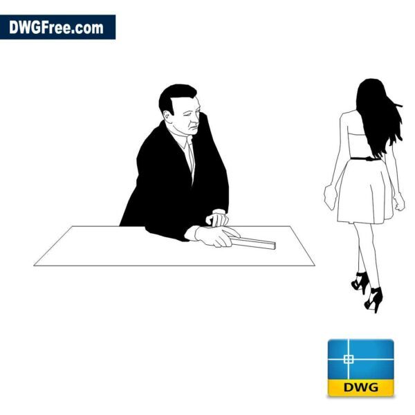 architect and girlfriend dwg drawing in CAD 2D