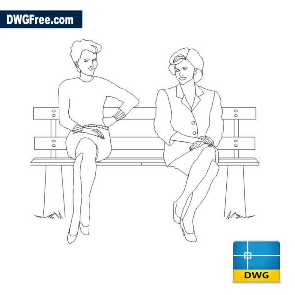 women on the bench dwg drawing in 2D CAD