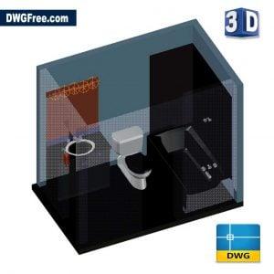 3D Bathroom DWG drawing in AutoCAD