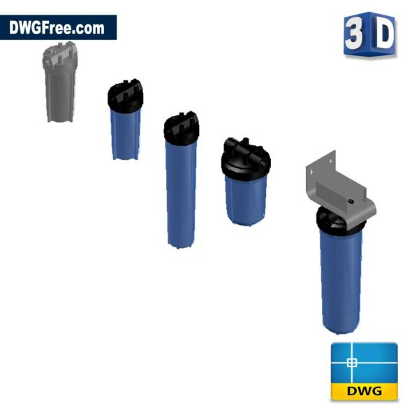 3D Cartridge Filter Housings DWG Drawing in AutoCAD Block