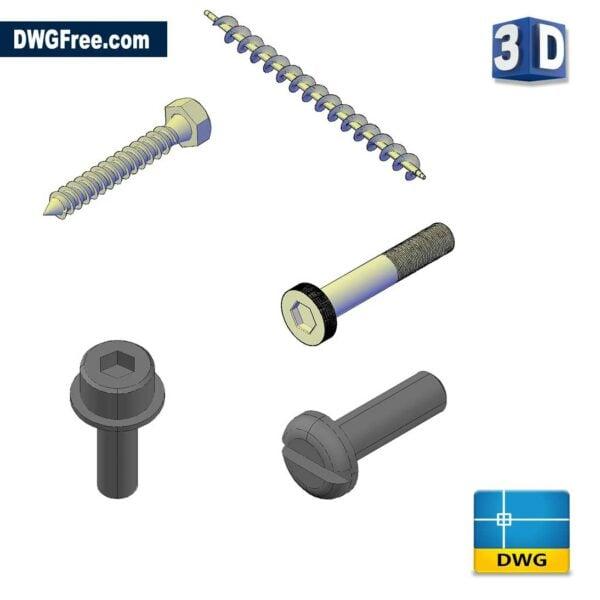 3D Screw CAD DWG drawing in Blocks