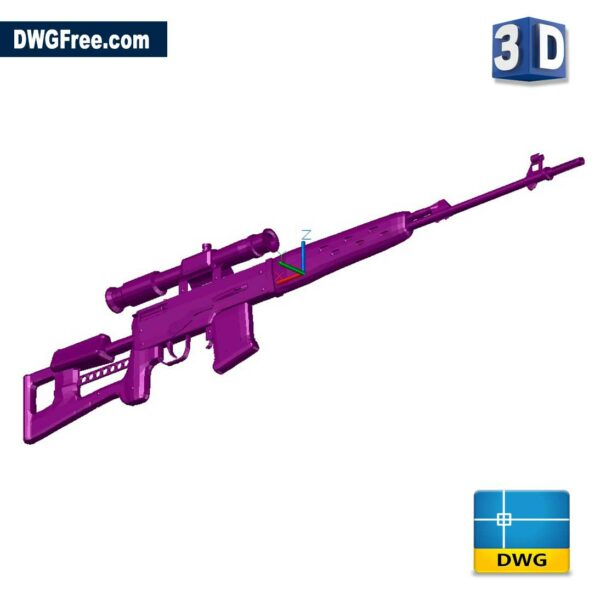 3D Sniper DWG drawing in AutoCAD Block