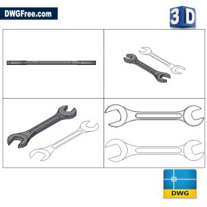 3D Wrench DWG drawing in AutoCAD Block