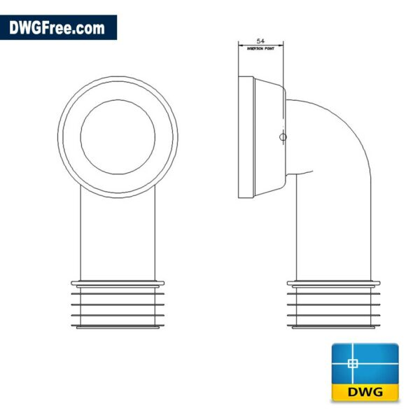 90° Bend WC Connector DWG in AutoCAD