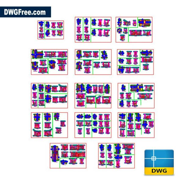 Architectural Details of Various Bathrooms DWG in CAD Blocks