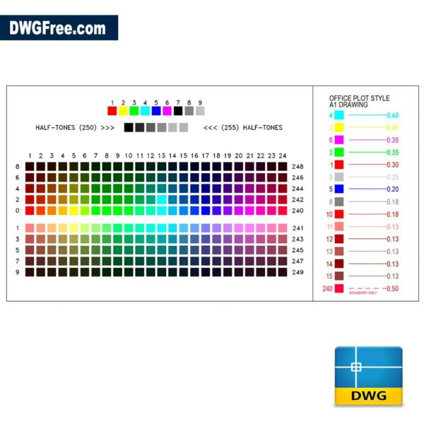 AutoCAD Colors Index DWG drawing in AutoCAD blocks