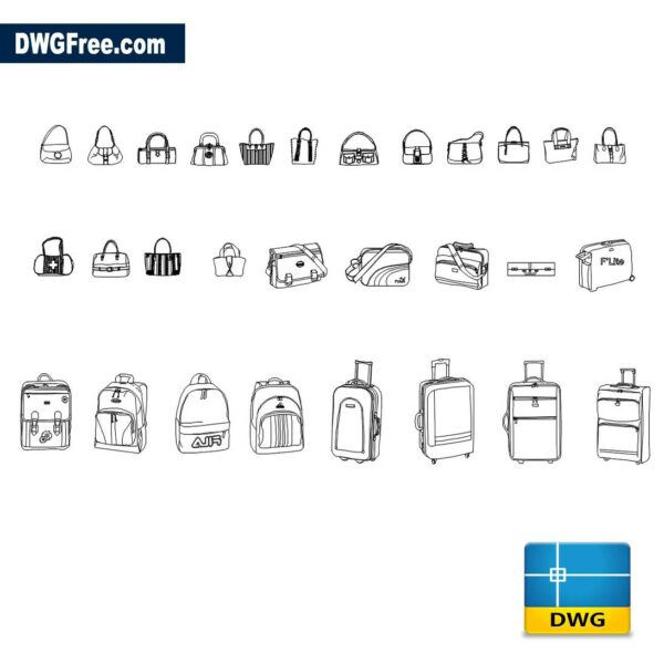 Bags DWG drawing in AutoCAD Blocks