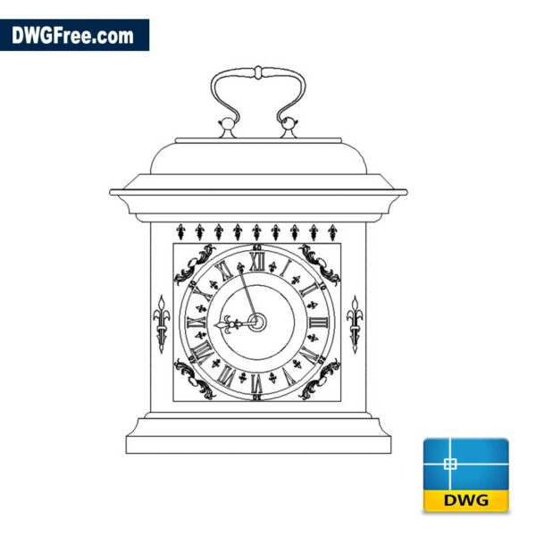 Brass Carriage Clock DWG drawing in AutoCAD 2D
