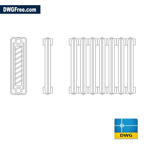 Cast Iron Radiator DWG drawing in AutoCAD blocks