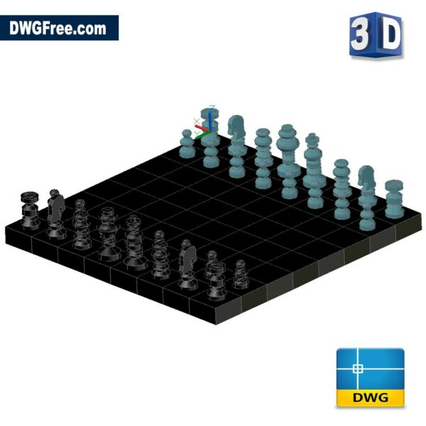 Chess 3D DWG drawing in AutoCAD Block