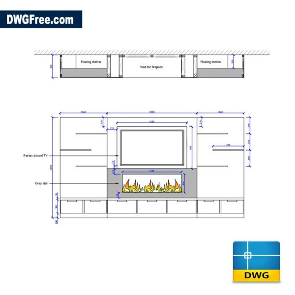 Cinema Room TV DWG drawing in AutoCAD 2D